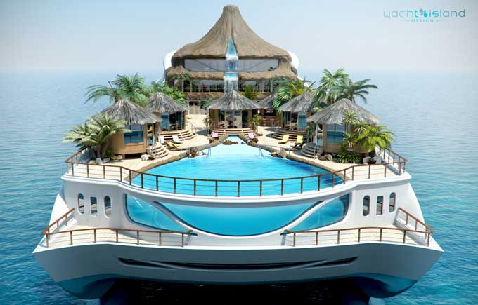 tropical island paradise by yacht island design. view of beach decks