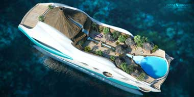 tropical island paradise by yacht island design. plan view