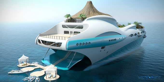 tropical island paradise by yacht island design. rear view