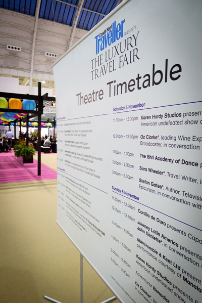 Conde Nast Traveller Luxury Travel Fair timetable seminars and opening hours