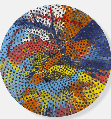Damien Hirst Beautiful Beautiful Sunflower Panerai Painting at O'Clock time design, design time art exhibition in Triennale di Milano