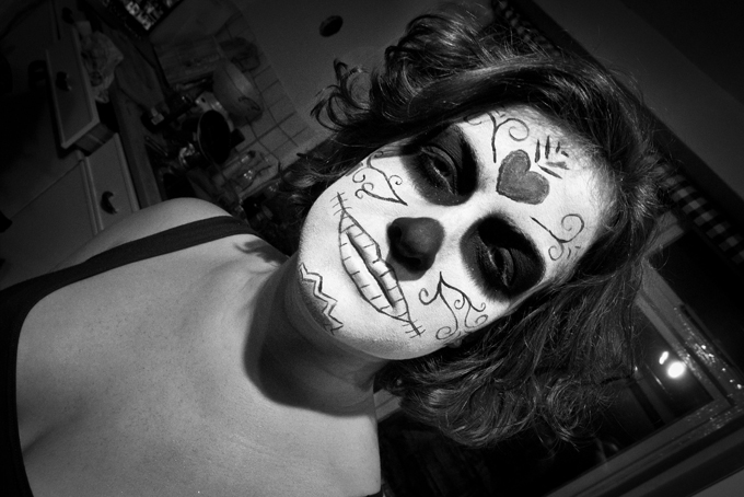 spooky halloween face-paint photo
