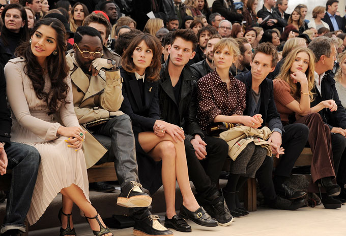 Sonam Kapoor, Will.i.am, Alexa Chung, Jeremy Irvine, Clemence Posey, Eddie Redmayne, Rosie Huntington-Whiteley and Mario Testino at the Burberry Prorsum Autumn Winter 2012 Womenswear Show