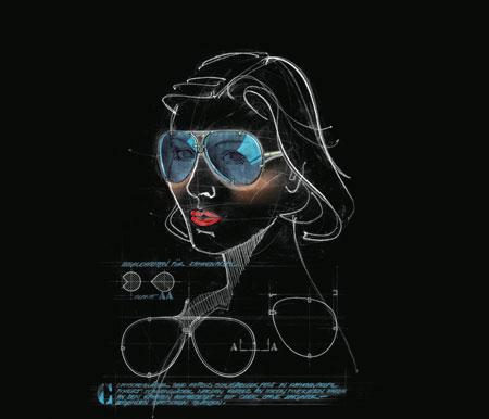 Porsche Design 40Y 8478 sunglasses sketch