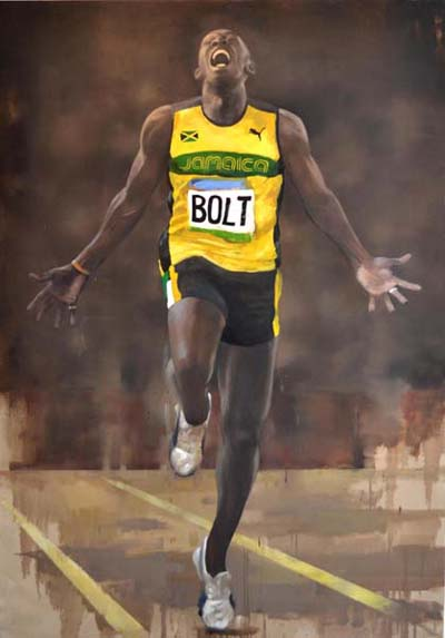 Usain Bolt by Andrew Hunt Oil Canvas