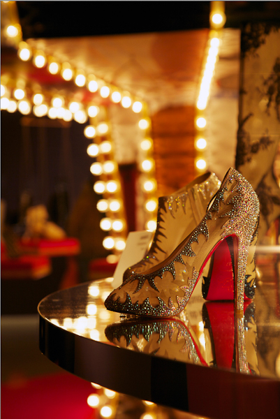 Shoes on display at Christian Louboutin exhibition Design Museum London
