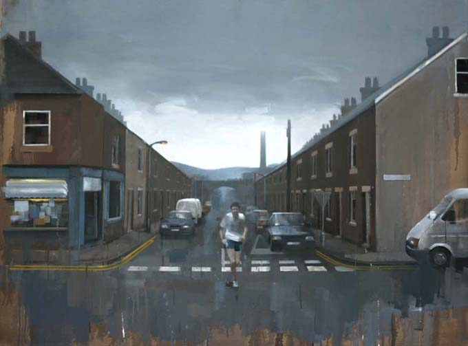 Mill Town Runner by Andrew Hunt Oil Painting