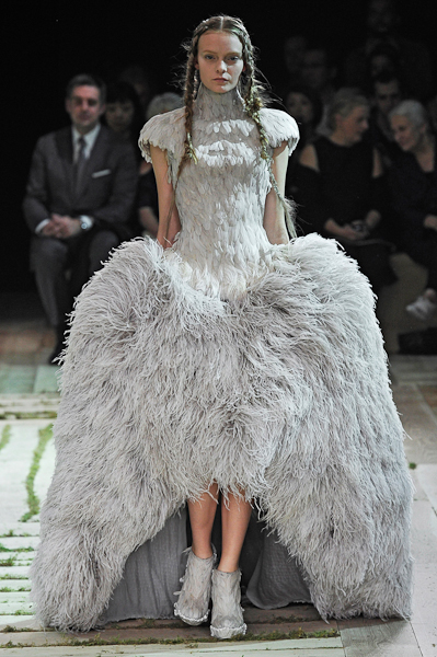 Sarah Burton feather dress for Alexander McQueen