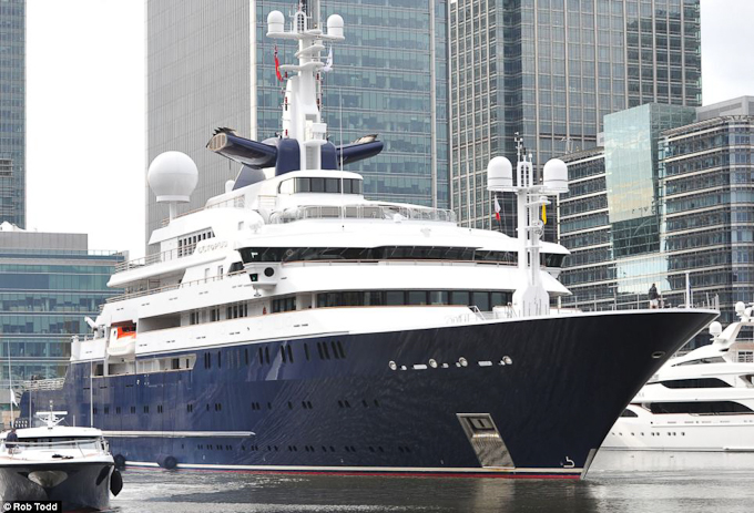 Octopus, the superyacht belonging to Paul Allen, co-founder of Microsoft moored in South Docks, Canary Wharf