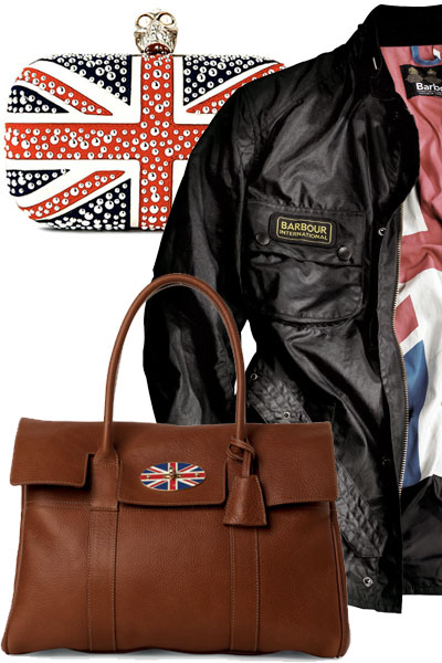 British Design - Mulberry Bayswater bag in Oak NAtural leather, Barbour jacket and McQueen clutch bag