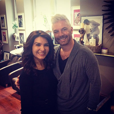 Nicky Clarke Mayfair hair salon Carlos Place blow-dry image of me with Lee Radley