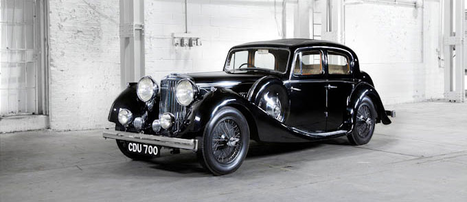 black SS Jaguar 2.5ltr saloon 1946 in white warehouse