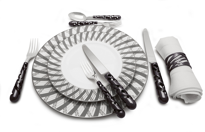 Silver by Aston Martin stainless steel cutlery set and fine bone china plates image