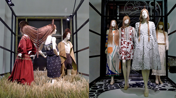 Display models of Chloe clothes in the exhibition