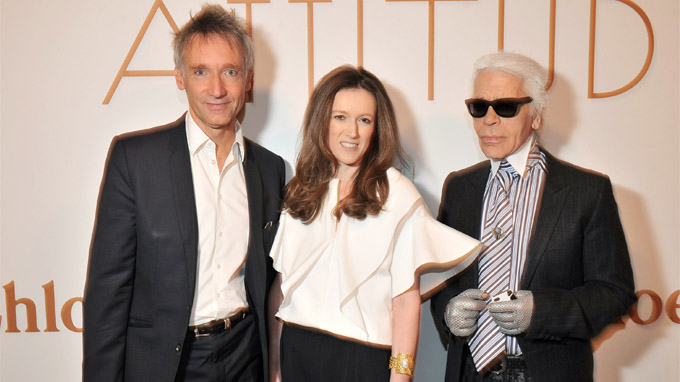 Clare Waight Keller and Karl Lagerfeld pictured at the exhibition launch