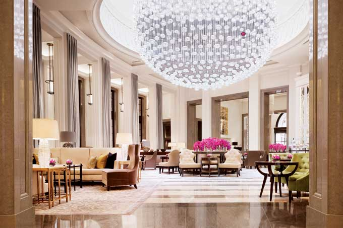 Corinthia Hotel lobby lounge with spectacular chandelier