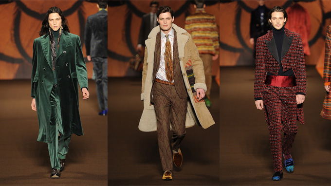 Three looks from the Etro AW12 collection, displaying the autumnal colour range and textured, layered styling.