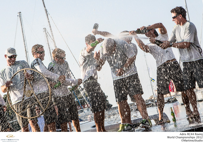 Adris RC44 World Championships 2012 2nd place finish for UK spraying champagne