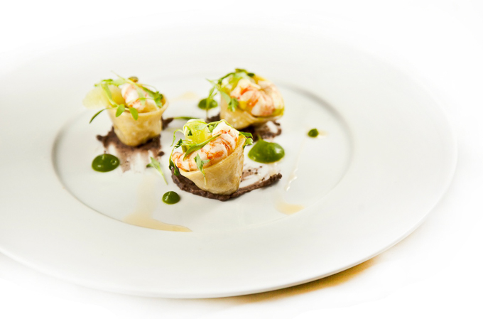 Fine dining prawn dish