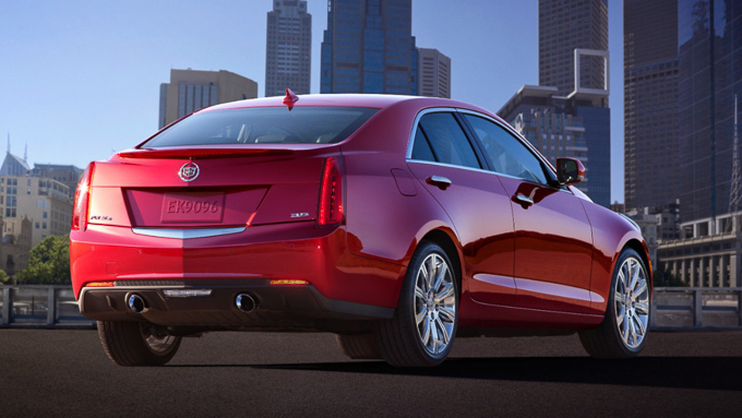 Rear end view of Cadillac ATS with New York in the background