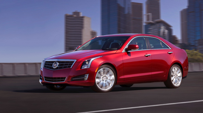 Front view of Cadillac ATS with New York in the background