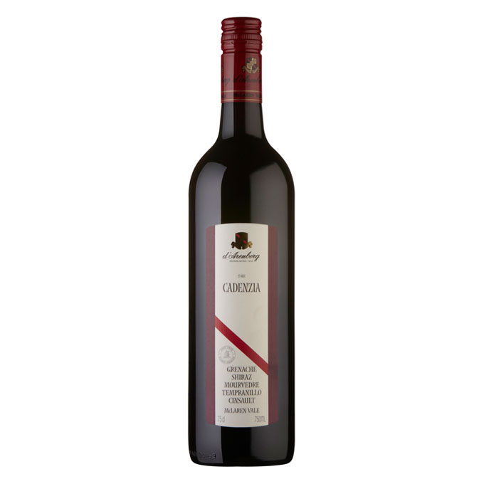bottle of D'arenberg the Cadenzia 2009 wine with white background