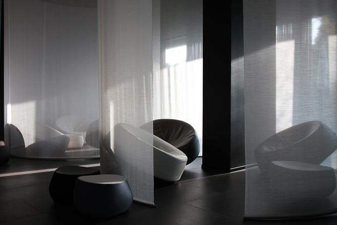 interior images of modern design pod seating at Hotel Lone