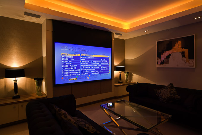 projector screen in Finite Solutions Show Home lounge