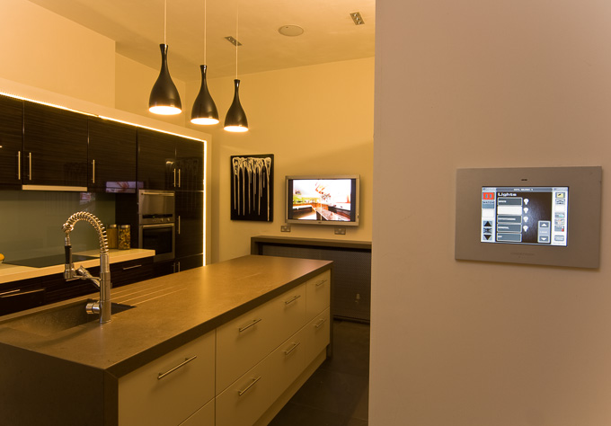wall controls in kitchen of Finite Solutions Show Home