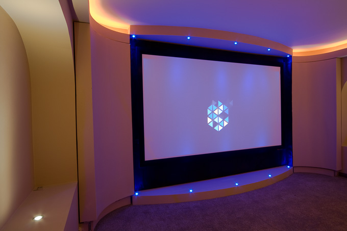Huge Cinema screen in Finite Solutions Show Home