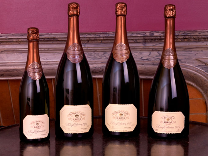 A selection of Krug's Vintage Champagne from 61, 73, 69 and 79