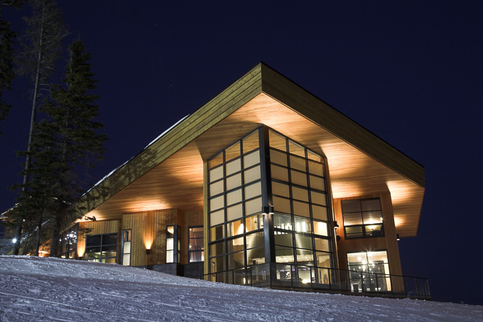 evening exterior image of modern canadian chalet