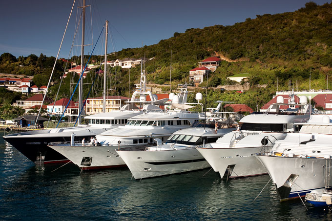 Luxury yachts in moored in St Barths