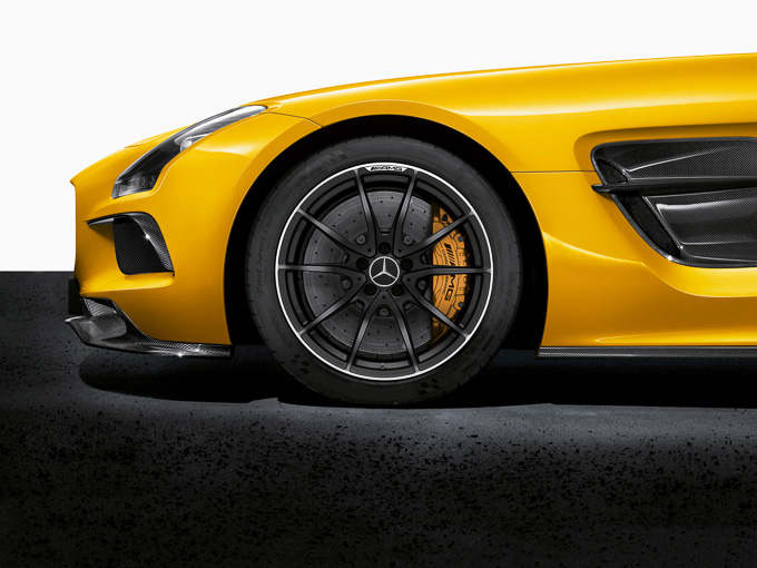 Solarbeam yellow Mercedes SLS AMG Coupe Black Series gullwing hypercar
