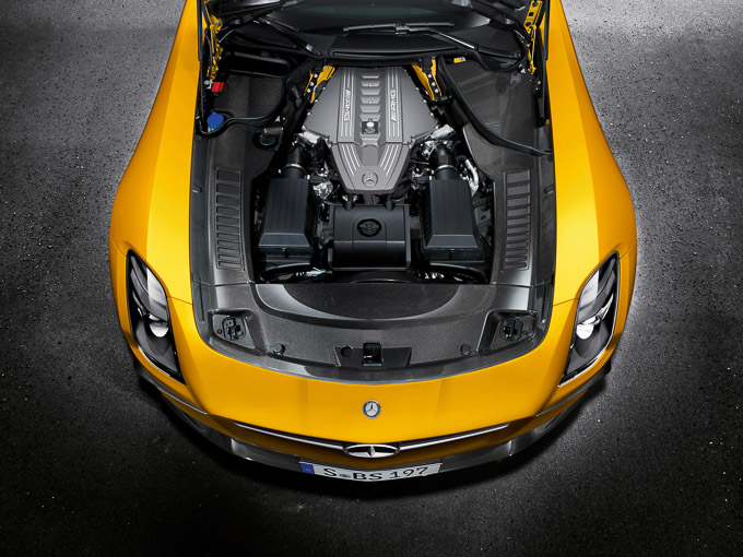 Solarbeam yellow Mercedes SLS AMG Coupe Black Series gullwing hyper car engine bay