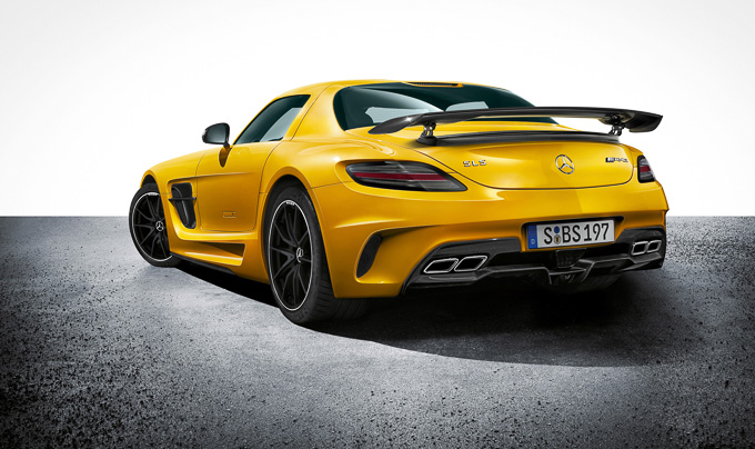 Solarbeam yellow Mercedes SLS AMG Coupe Black Series gullwing hypercar rear view
