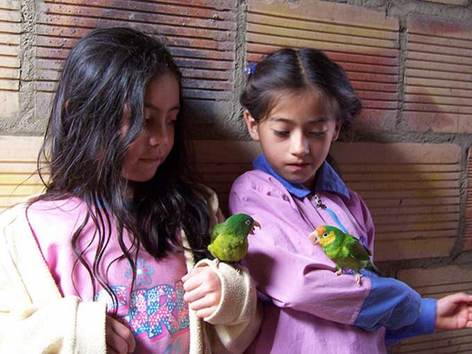 two young Columbian girls at Santa Maria School