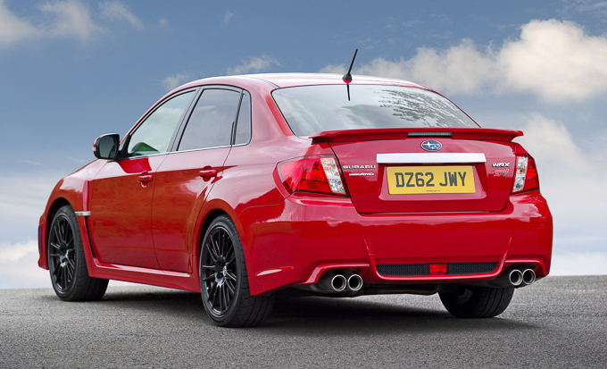 Subaru WRX STi 340R back end in red with black alloy wheels