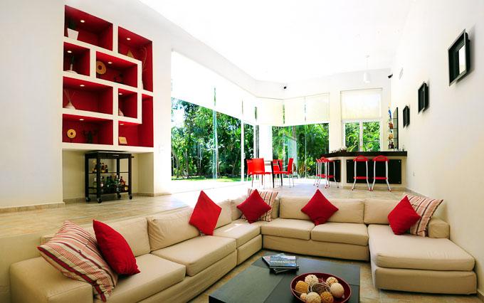 modern interior image of Aqua Villa, Playa del Carmen, Mexico open plan lounge and bar