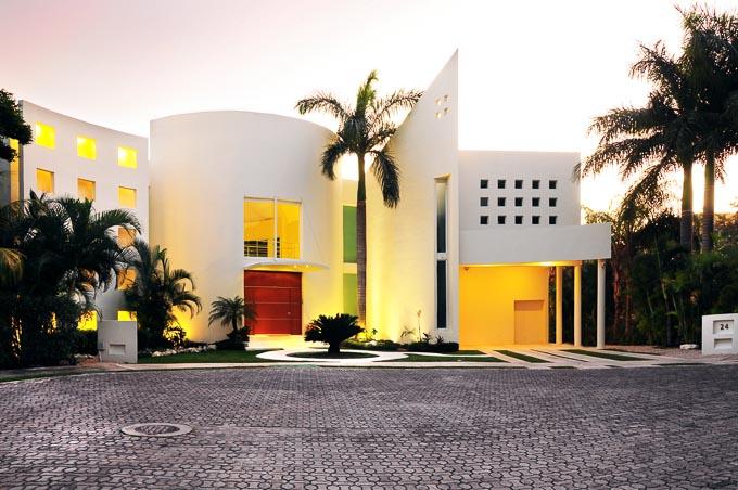 stunning modern architecture exterior image of Aqua Villa in Playa del Carmen, Mexico