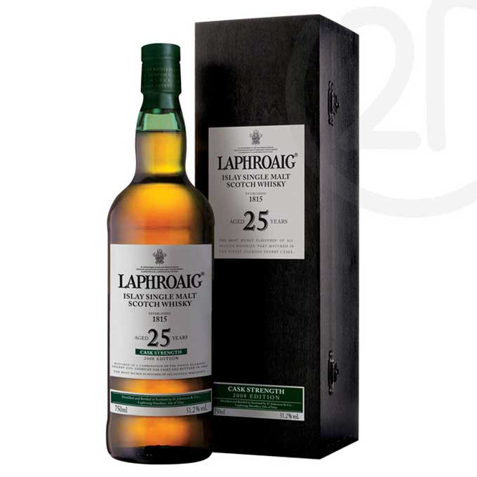 Laphroaig 25 year old Whisky with black special box
