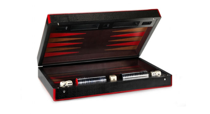 carbon fibre Ferrari backgammon set
