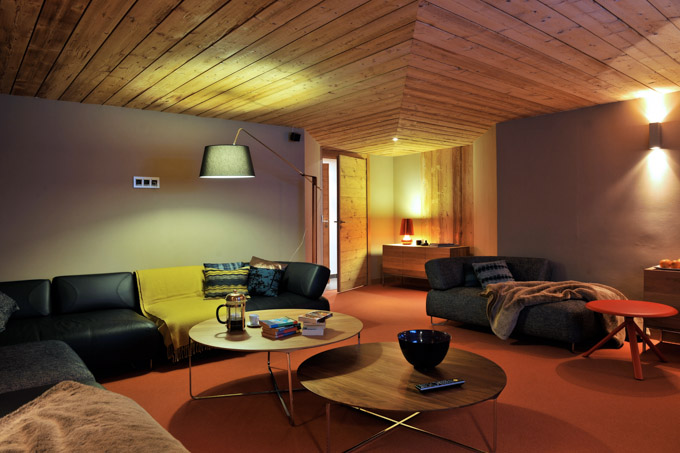 interior view of modern Alpine Chalet