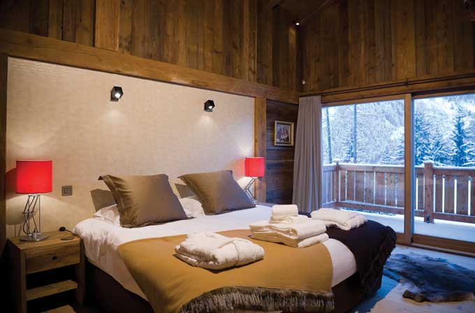 Bedroom interior of French Chalet in Chamonix