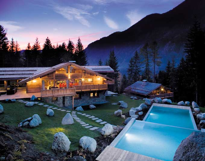 Panoramic sunset exterior shot of French Chalet