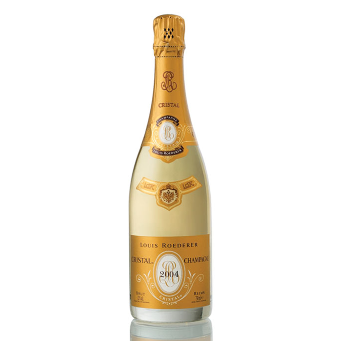 Yellow / Gold bottle of Louis Roederer Cristal 2004