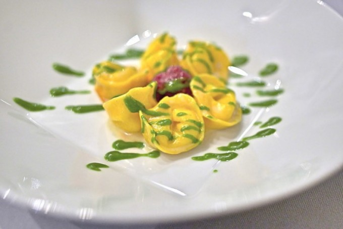 Moreno at Baglioni tortellini filled with liquid Parmesan