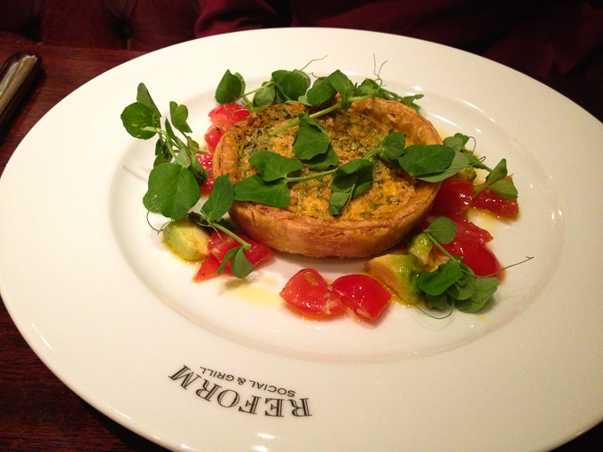 Crab Tart with Avocado and Chilli starter at  Reform Social and Grill