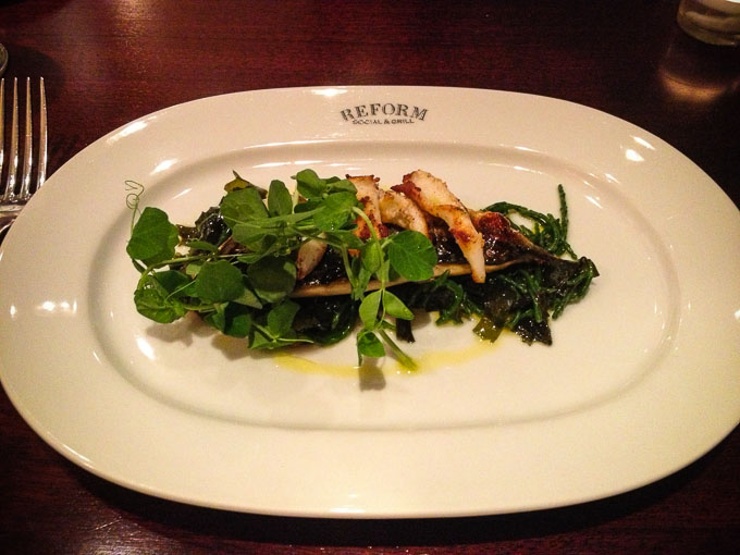 Cornish Mackerel, Squid, Sea Pickle and Watercress starter