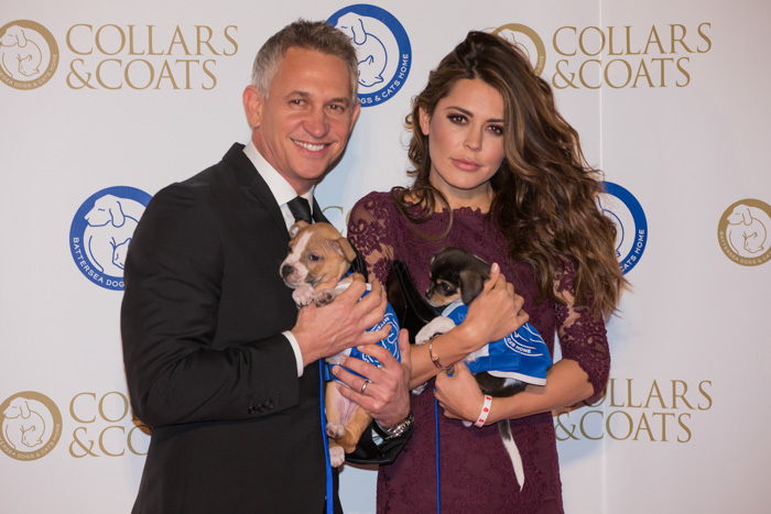 Gary and Danielle Lineker with Bill and Sammy at Battersea Dogs & Cats Home Collars & Coats Gala Ball 2013